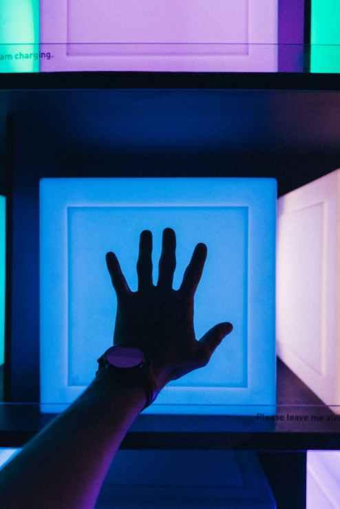 left person s hand near blue board
