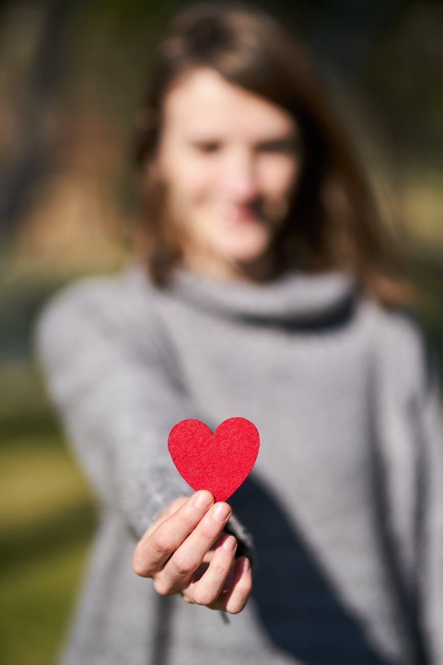 macro shot of heart shaped cut out
